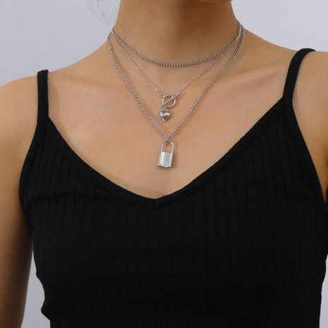 Hot-saling lock fashion simple buckle multilayer alloy necklace  NHXR244543's discount tags
