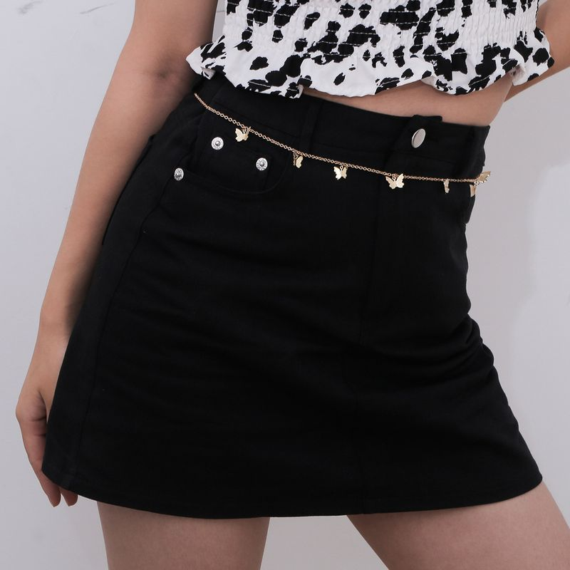 creative simple single-layer metal body chain retro butterfly pendant waist chain wholesale nihaojewelry NHXR244550