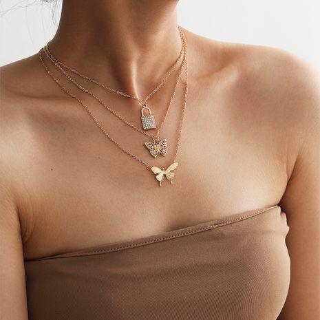 Collier en alliage de papillon rétro de verrouillage de micro-diamant multicouche simple de mode pour les femmes NHXR244552's discount tags
