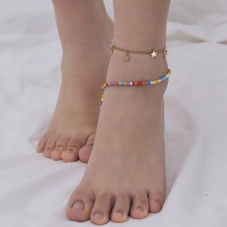 fashion retro ethnic handmade beaded feet shooting star pendant anklets NHXR244555's discount tags