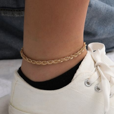fashion simple twist chain punk style minimalist tide women's beach anklet NHXR244557's discount tags