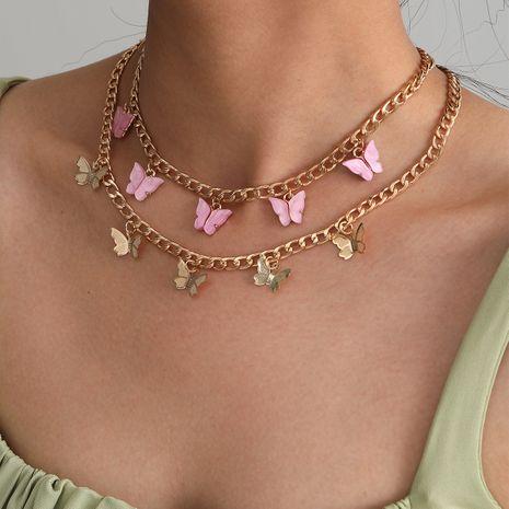 collier papillon rétro en alliage d'explosion multicouche simple de mode pour les femmes NHXR244559's discount tags