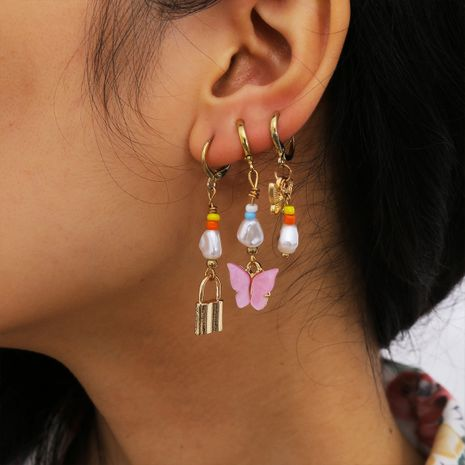 fashion simple small clear lock alloy butterfly earrings wholesale nihaojewelry NHXR244561's discount tags