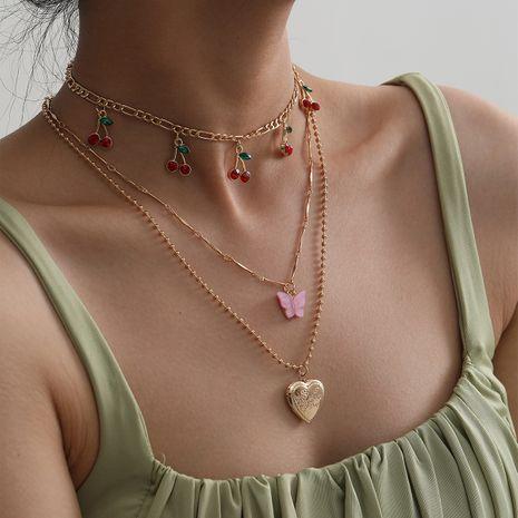 collier en alliage pendentif papillon de tir de rue multicouche de mode simple petite cerise NHXR244562's discount tags