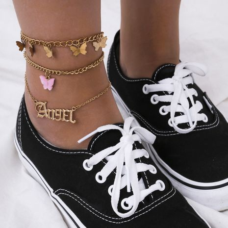 fashion simple multi-layer letter foot ornaments retro street shooting butterfly pendant anklet for women NHXR244564's discount tags
