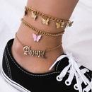 Mode simple multicouche lettre ornements de pied rtro rue tir papillon pendentif cheville pour les femmes NHXR244564