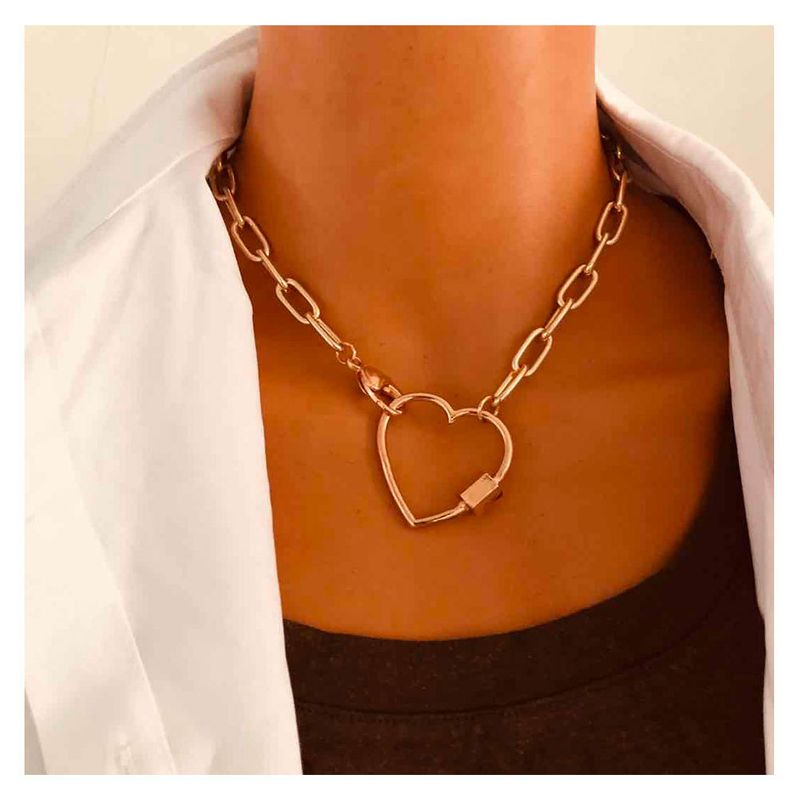 Fashion hundred matching decoration love alloy peach heart carabiner golden necklace for women NHCT244589