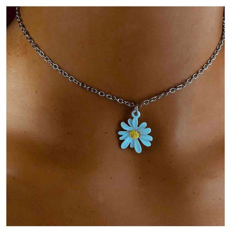 Fashion sun flower single layer alloy pendant necklace jewelry for women wholesale NHCT244590's discount tags