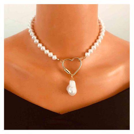 Moda melocotón corazón enlace hebilla joyería de una sola capa collar colgante de perlas para mujeres NHCT244592's discount tags