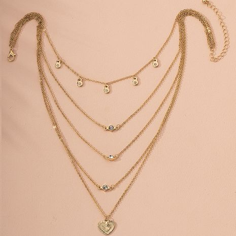 fashion new diamond love card multi-layer metal texture alloy necklace  NHAI244600's discount tags