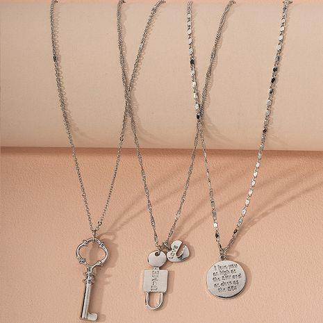new letter pendant hip hop style simple alloy necklace for women wholesale  NHAI244602's discount tags