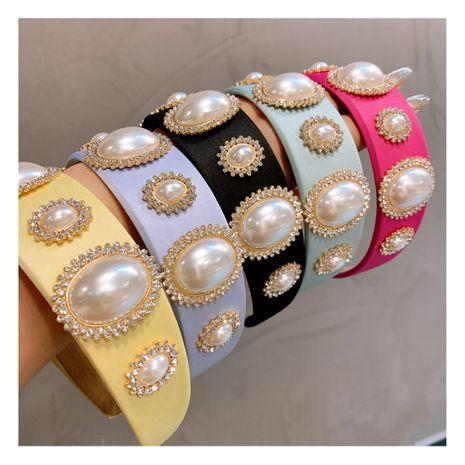 Korean   retro cream big pearl macaron headband NHHD244607's discount tags