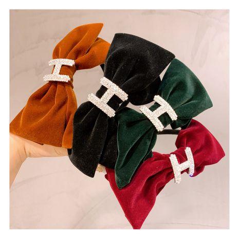 Korea retro British style small fragrance velvet bow rhinestone H headband NHHD244614's discount tags