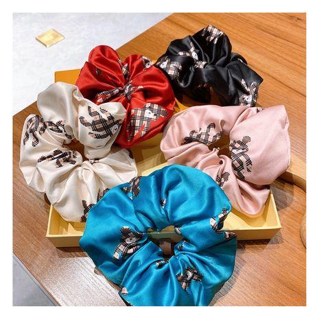 Korea Retro  Silk Printed Cartoon Bear Meatball Head hair scrunchies wholesale  NHHD244616's discount tags