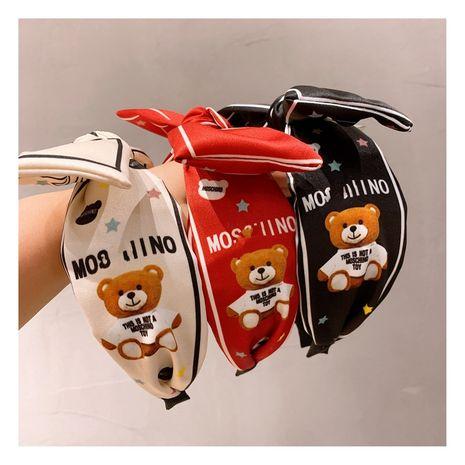 retro silk satin printed cartoon Baby bear bow broad-brimmed headband  NHHD244619's discount tags
