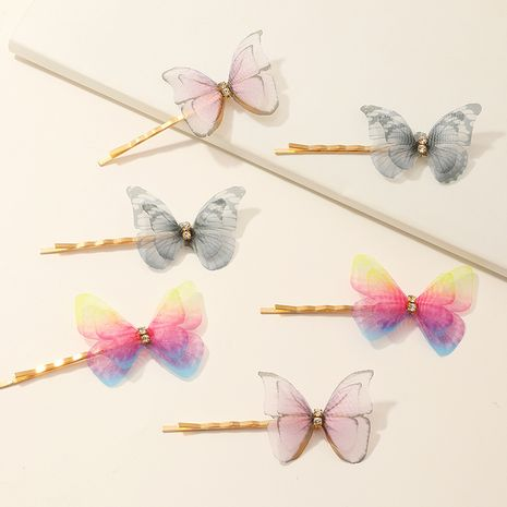 fashion butterfly hairpin side clip sweet girl hairpin headdress wholesale nihaojewelry NHAU244643's discount tags