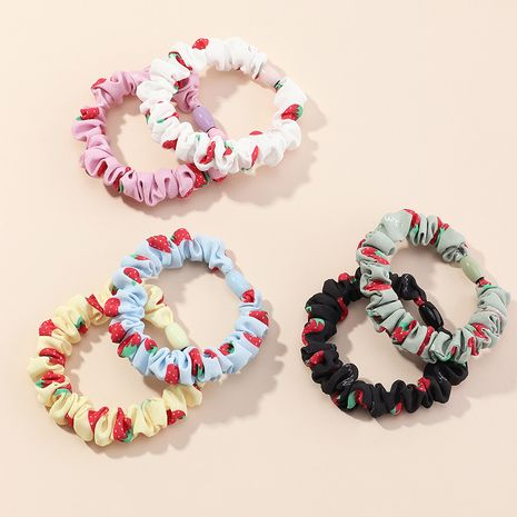Fashion printing fruit candy color strawberry girls hair rope rubber band set  wholesale NHAU244663's discount tags