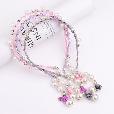 Accessoires de cheveux frangés pour enfants coréens perle cristal fausses boucles d'oreilles bandes de cheveux filles pendentifs strass épingle à cheveux coiffure NHNU244673's discount tags