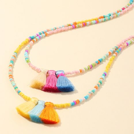 Hot-selling popular bohemian style handmade colorful rice beads tassel necklaces wholesale  NHNU244680's discount tags