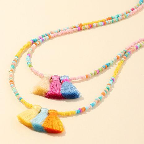 Vente chaude populaire style bohème fait à la main perles de riz colorées pompon colliers en gros NHNU244680's discount tags