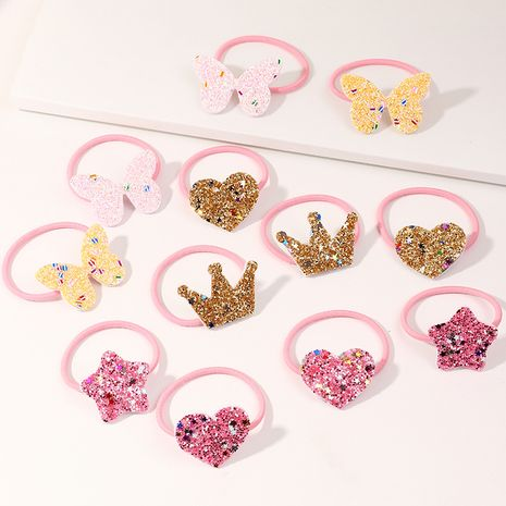 Hot Sale Children's Simple Glossy Pink Hair Rope Set Boxed High Elastic Flower Cartoon Rubber Band set NHNU244690's discount tags