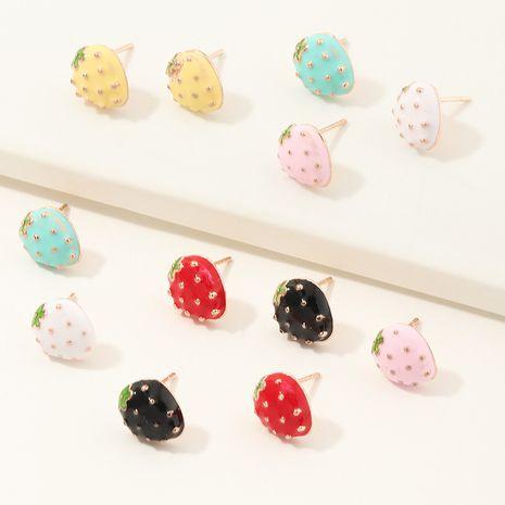 boucles d'oreilles créatives en alliage de fraise de fruits en gros nihaojewelry NHNU244694's discount tags