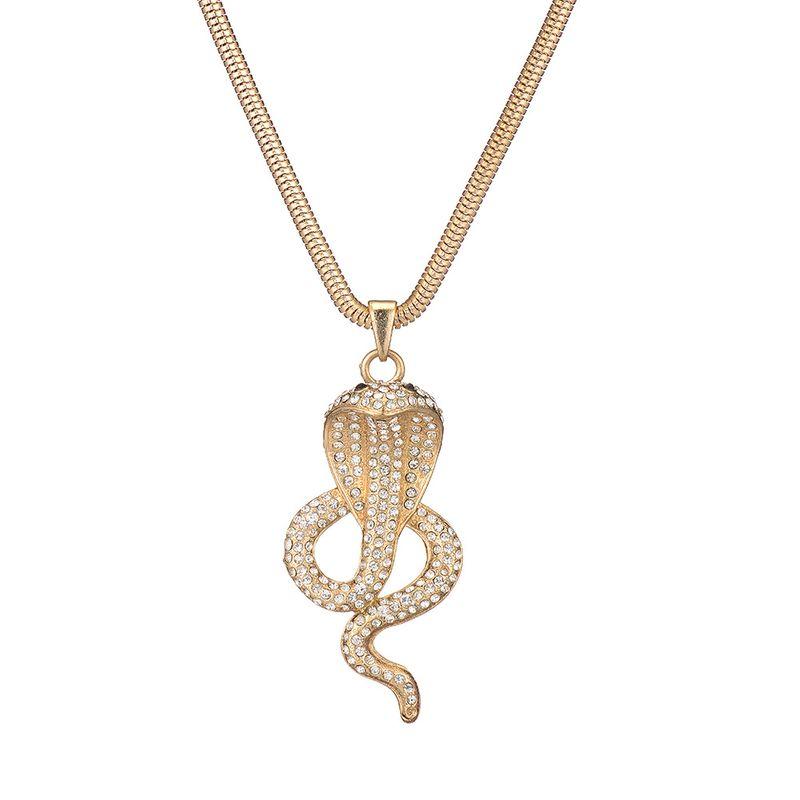 collar de serpiente de diamante simple de aleacin larga exagerada de metal exagerado vendedor caliente NHOA244708