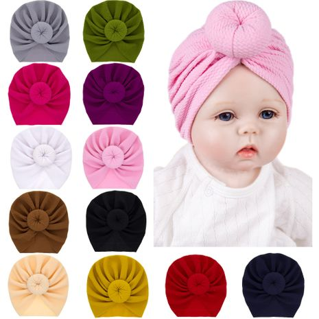 bébé chapeau de tête de boule de couleur unie enfants chapeau de couleur unie en gros nihaojewelry NHWO244714's discount tags