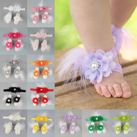 Baby children chiffon flower head flower foot flower footband wholesale nihaojewelry NHWO244723's discount tags