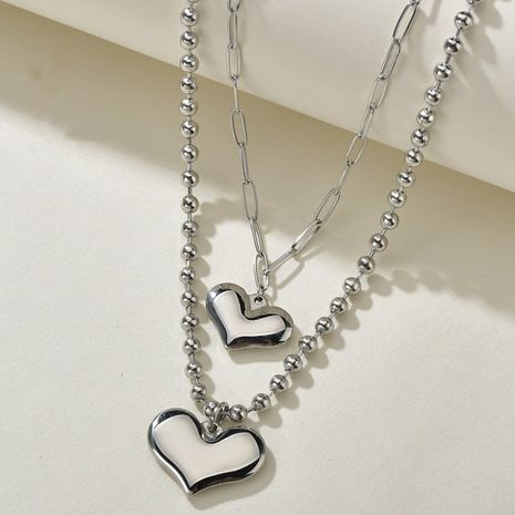 Tendance coréenne nouvelle simplicité et collier sauvage d'amour double couche NHHF244308's discount tags