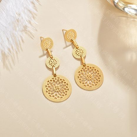 round hollow glossy simple multi-layer long  exaggerated embossed stainless steel earrings  NHHF244315's discount tags