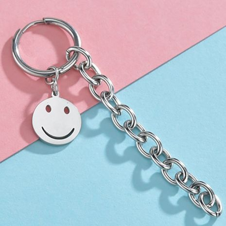 smiley face long chain titanium steel earrings  wholesale nihaojewelry NHHF244316's discount tags