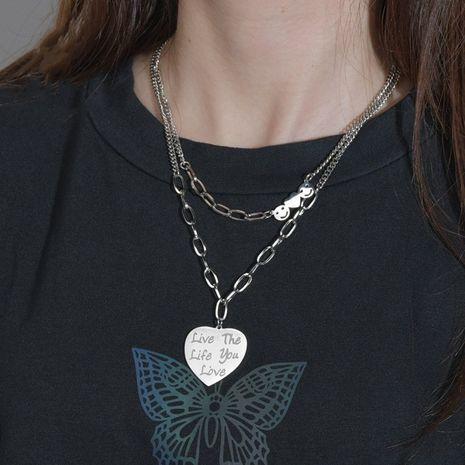 Collier pendentif mode hip-hop double couche en acier titane rétro coeur pêche smiley NHHF244321's discount tags