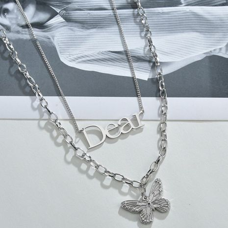Korean niche retro butterfly simple clavicle chain  titanium steel double pendant  NHHF244326's discount tags