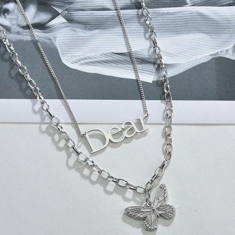 Nicho coreano retro mariposa cadena de clavícula simple colgante doble de acero de titanio NHHF244326's discount tags