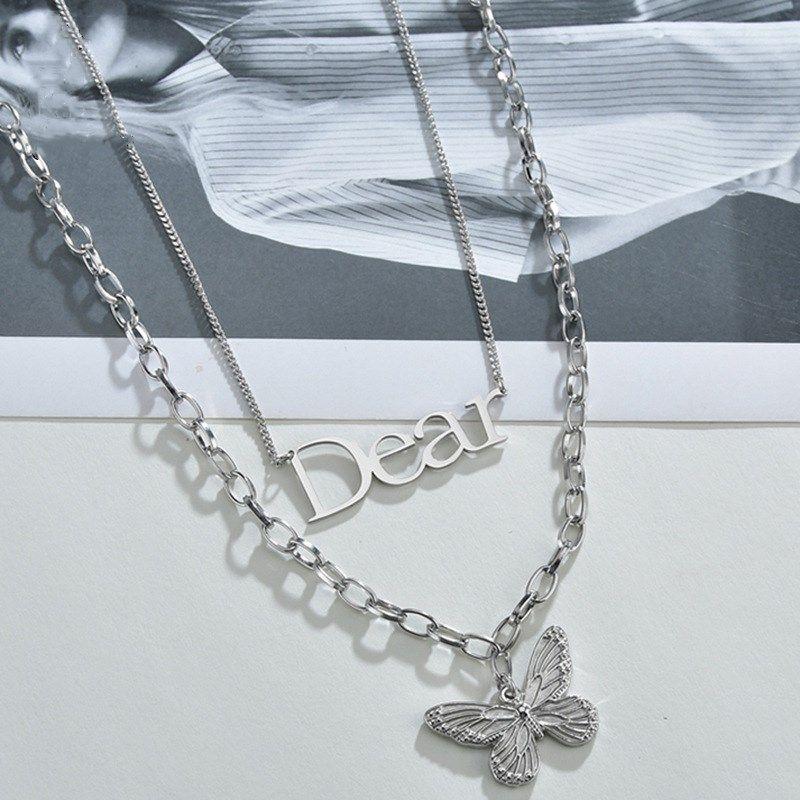 Korean niche retro butterfly simple clavicle chain  titanium steel double pendant  NHHF244326