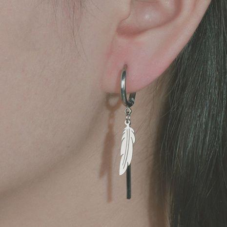 Korean feather tassel new earrings punk titanium steel simple leaf earrings wholesale nihaojewelry NHHF244332's discount tags