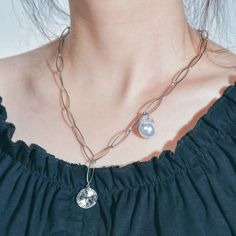 hot selling fashion titanium steel pearl irregular round necklace clavicle chain for women NHHF244335