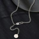 Pendentif rond de chane de clavicule  la mode en forme de Y pour les femmes NHHF244337
