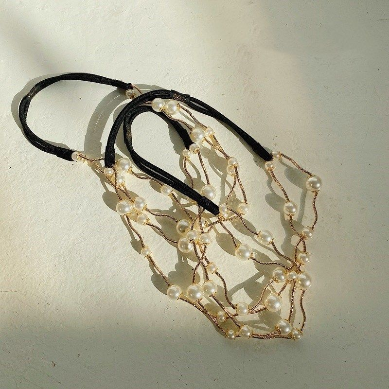 Fe corenne en alliage de perles mode dames vague accessoires de cheveux lastiques NHSM244351