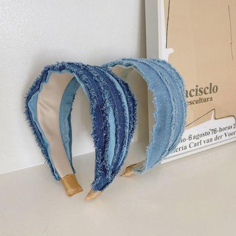 Korean retro denim fold wild new cloth wide brim simple fashion headband NHSM244354's discount tags