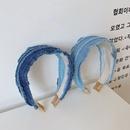 Korean retro denim fold wild new cloth wide brim simple fashion headband NHSM244354