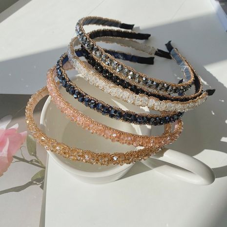 Korean crystal retro wild hand-wound thin side fashion new headband  NHSM244357's discount tags