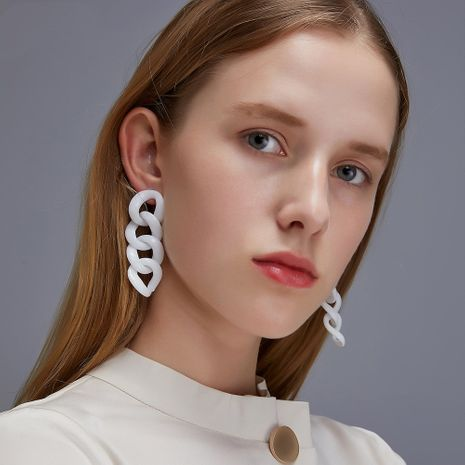 new exaggerated geometric three-dimensional chain punk style long trendy earrings wholesale nihaojewelry NHDP244363's discount tags