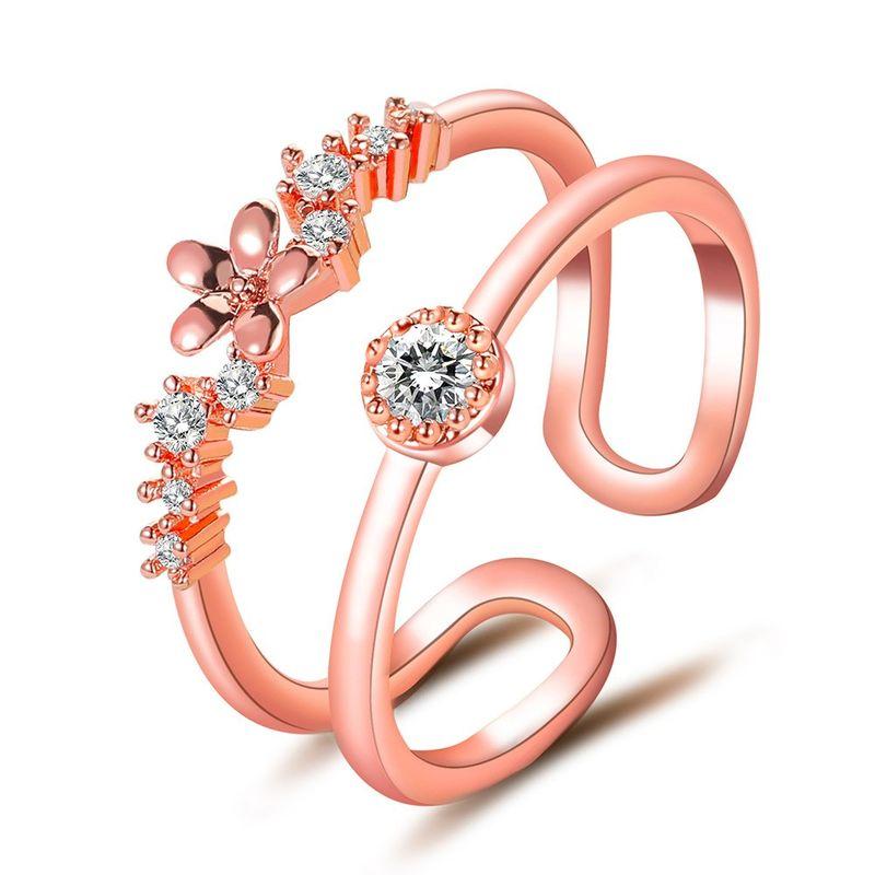 Korean new double layer diamond U-shaped ring fashion opening adjustable ring wholesale nihaojewelry NHDP244364