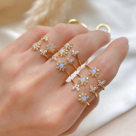 hot selling opal sunflower ring dreamy simple sweet butterfly open ring wholesale nihaojewelry NHDP244366's discount tags