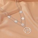 new doublelayer wave fashion simple disc alloy pendant clavicle chain hot sale  NHDP244367