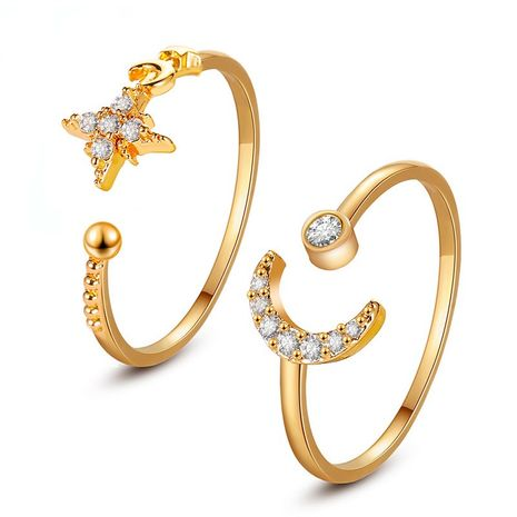 hot selling simple star moon ring classic opening adjustable finger ring wholesale nihaojewelry NHDP244370's discount tags