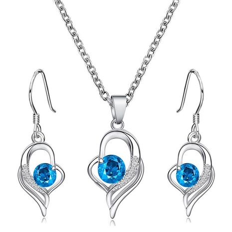 simple blue diamond clavicle chain love necklace earrings set  NHDP244373's discount tags