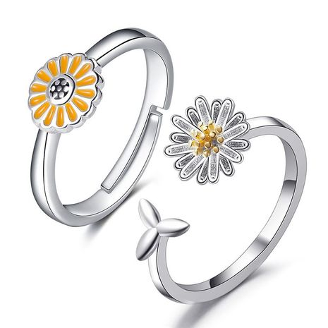 Korean style simple daisy flower ring sunflower ring adjustable ring wholesale nihaojewelry NHDP244378's discount tags